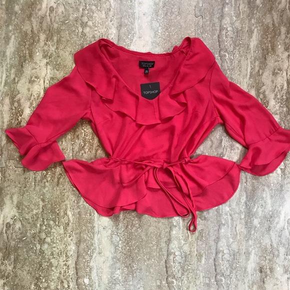 Topshop Tops - Topshop- pink flutter peplum blouse